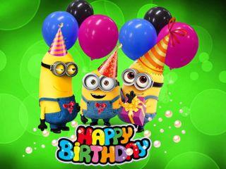Обои на телефон шары, день рождения, счастливые, мультики, миньоны, minions birthday, 640x480px