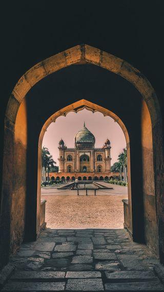 Обои на телефон храм, мечеть, сад, исламские, индия, арт, taaj mehal, art