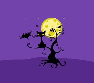 Обои на телефон ужасные, шаблон, черные, хэллоуин, фиолетовые, тыква, синие, оранжевые, летучая мышь, кошки, Halloween