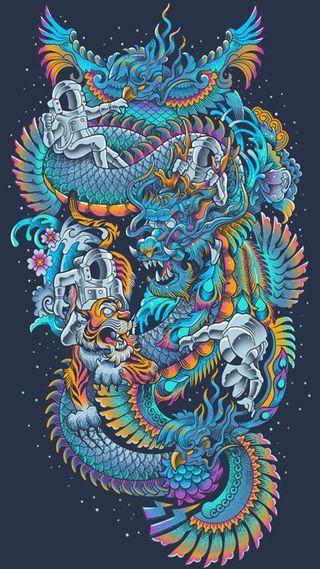 Обои на телефон тигр, космос, космонавт, дракон, галактика, tumblr, dragon