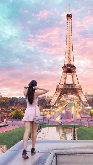 Обои на телефон настроение, франция, путешествие, париж, люди, девушки, город, башня