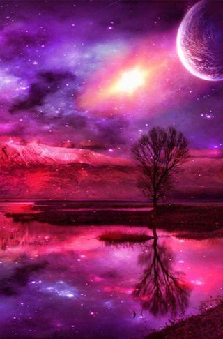 Обои на телефон фантазия, фиолетовые, розовые, планета, озеро, космос, звезда, дерево