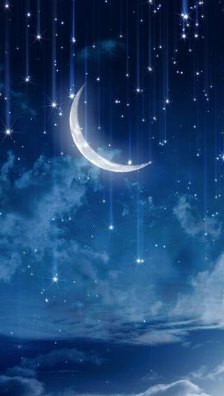 Обои на телефон синие, ночь, небо, луна, звезды, moon and stars