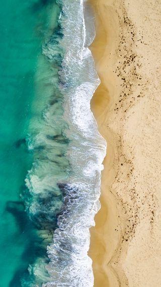 Обои на телефон популярные, птицы, пляж, океан, небо, морской берег, глаза, волна, drone, birds eye