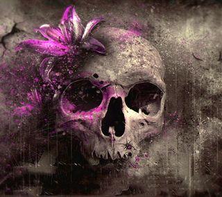 Обои на телефон голова, череп, цветы, фиолетовые, мертвый, skull head, purple flower grungy, dead skull head