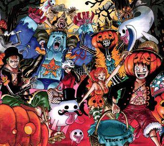 Обои на телефон ghost, one piece halloween, аниме, хэллоуин, призрак, тыква