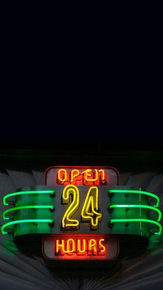 Обои на телефон открыто, неоновые, знаки, neon sign, hours, 24