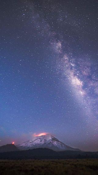 Обои на телефон фото, небо, млечный путь, вулкан, popocatpetl