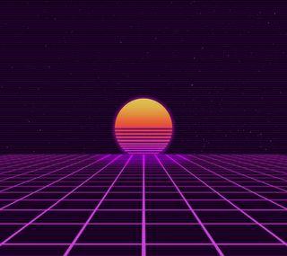 Обои на телефон ретро, фиолетовые, трон, сетка, кибер, закат, vice, outrun, 80е