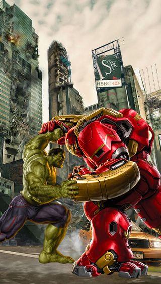 Обои на телефон ультрон, против, железный человек, халк, мстители, hulk vs hulkbuster