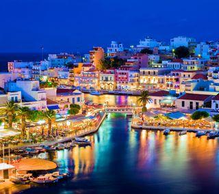 Обои на телефон греция, вечер, остров, огни, ночь, crete