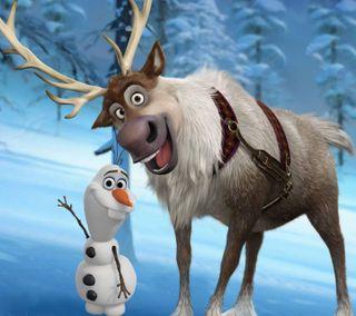 Обои на телефон disney, olaf and sven, фильмы, зима, снег, дисней, снеговик, холодное, олаф, олень, свен