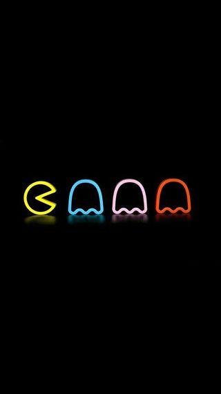 Обои на телефон пакмен, неоновые, игра, over, neon pacman