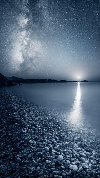 Обои на телефон пляж, океан, ночь, луна, звезды, грани, бесконечность, s7, reflecting infinity, borda, adrian