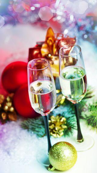 Обои на телефон шампанское, празднование, украшение, счастливые, рождество, новый, год, happy