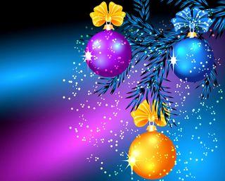 Обои на телефон лук, шары, счастливые, рождество, праздник, новый, дерево, ветка, бабочки