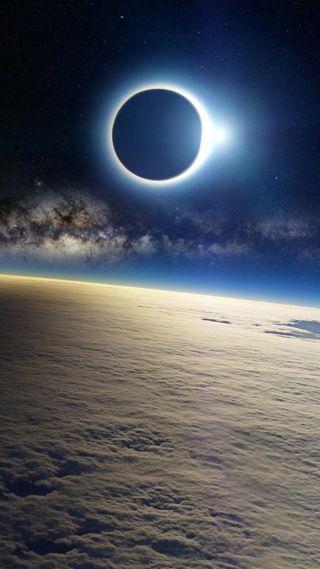 Обои на телефон путь, солнце, млечный, луна, космос, затмение, галактика, galaxy