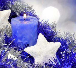 Обои на телефон свечи, фиолетовые, рождество