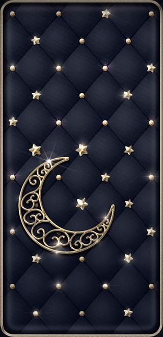Обои на телефон симпатичные, черные, сверкающие, прекрасные, ночь, луна, золотые, звезды, padded, goldenstarsnmoon