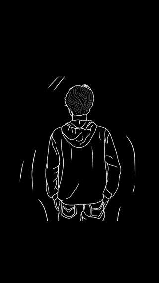 Обои на телефон мальчик, черные, рисунок, рисунки, набросок, белые, standing still, stand, man, blackwhite