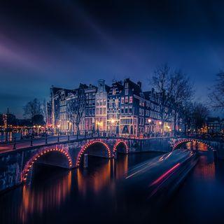 Обои на телефон мост, огни, ночь, городской пейзаж, night lights, amsterdam