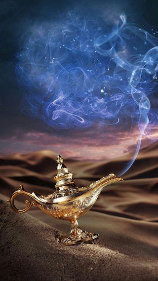 Обои на телефон фонарь, пустыня, песок, магия, золотые, дым, fenous, djinni