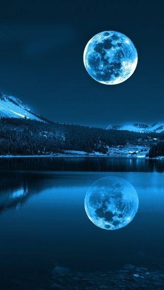 Обои на телефон синие, природа, небо, луна, full, blue moon