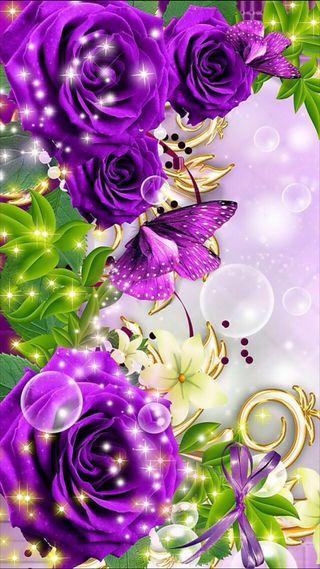 Обои на телефон цветы, фиолетовые, сверкающие, розы, природа, любовь, листья, бабочки, love