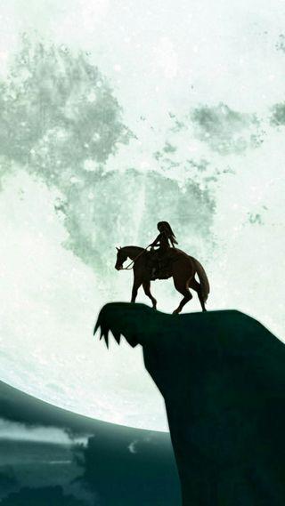 Обои на телефон силуэт, луна, легенда, зельда, link silhouette, horseback, epona