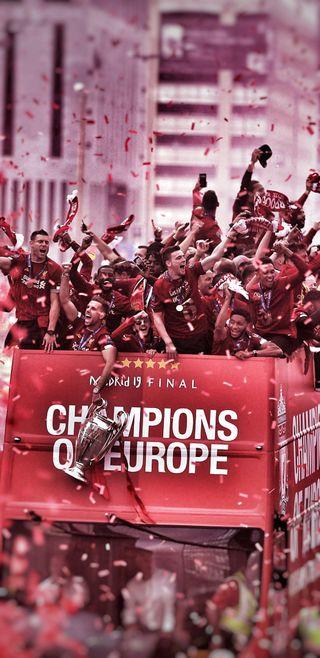 Обои на телефон шесть, ливерпуль, чемпионы, фургон, лига, van dijk, taa, salah, mane, kloop, henderson, firminho