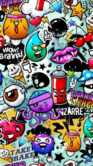 Обои на телефон граффити, черные, мультфильмы, красочные, арт, art
