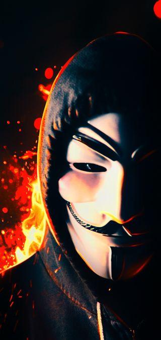 Обои на телефон парень, одиночество, огонь, неоновые, маска, анонимус, hd, fawkes, anonimo, 4k