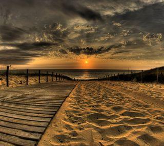 Обои на телефон песок, солнце, путь, пляж, океан, закат, boardwalk path
