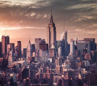 Обои на телефон пейзаж, новый, йорк, империя, здания, закат, город, горизонт, skyline, new york skyline 5k