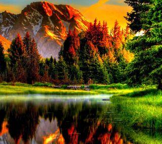 Обои на телефон горы, природа, озеро, небо