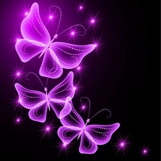Обои на телефон сияние, розовые, неоновые, бабочки, абстрактные