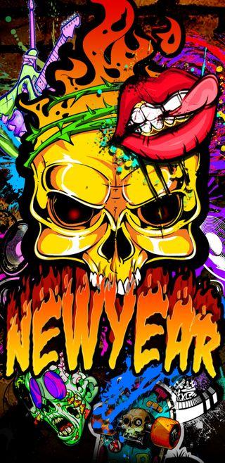 Обои на телефон граффити, череп, новый, металл, красочные, new years