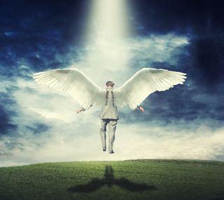 Обои на телефон тень, святой, свет, крылья, ангел, holy light
