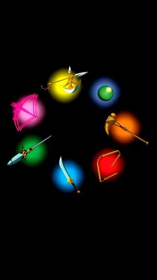 Обои на телефон лук, утро, семь, святой, молот, меч, звезда, дух, демон, война, war hammer gideon, twin-bow herritt, spirit spear chastiefol, morning star aldan, jingi, holy staff courechouse, divine axe rhitta, demon sword lostvayne