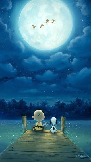 Обои на телефон пристань, коричневые, озеро, ночь, небо, лунный свет, луна, snoopie, charlie