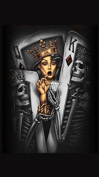 Обои на телефон карты, череп, покер, король, королева, бриллиант, queen and king