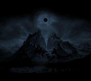 Обои на телефон тьма, черные, темные, ночь, луна, затмение, горы