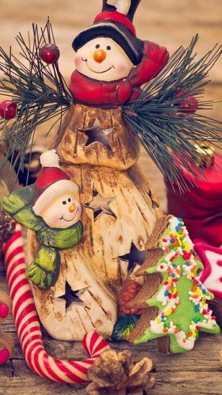 Обои на телефон украшение, рождество, snowmen