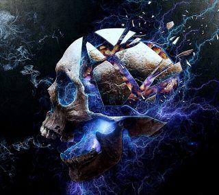 Обои на телефон электрические, череп, темные, смерть, скелет, синие, кости, зло