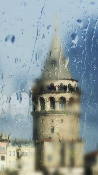 Обои на телефон стамбул, турецкие, зима, дождь, галата, башня, galata towe, famouse