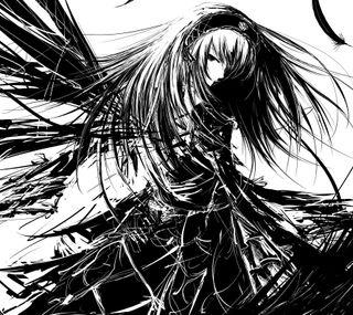 Обои на телефон персонажи, черные, аниме, ангел, suigintou black