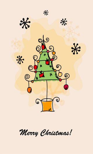 Обои на телефон украшения, карты, счастливое, снежинки, рождество, дерево, christmas card