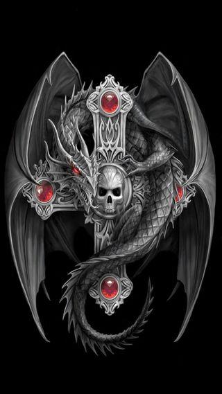 Обои на телефон крест, готические, дракон, dragon
