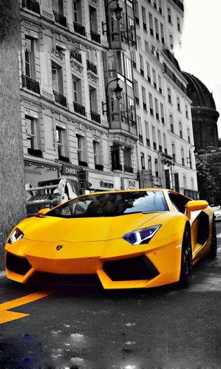 Обои на телефон машины, ламборгини, колеса, желтые, гоночные, винтаж, авентадор, stunt, lamborghini, aventador