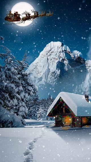Обои на телефон санта, праздник, пейзаж, ночь, зима, естественные, дом, marry christmass